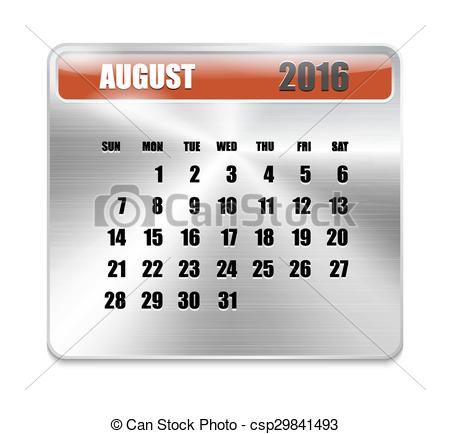 August 2016 calendar clipart svg freeuse stock EPS Vectors of Monthly calendar for August 2016 on metallic plate ... svg freeuse stock