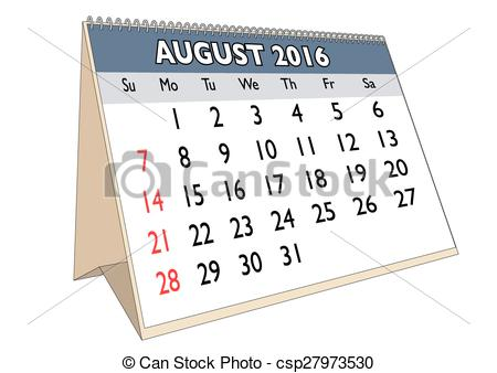 August 2016 calendar clipart image free stock Vectors of August 2016 - August month in a year 2016 calendar in ... image free stock