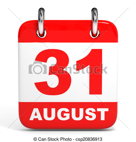 Of on white background. August 31st calendar clipart