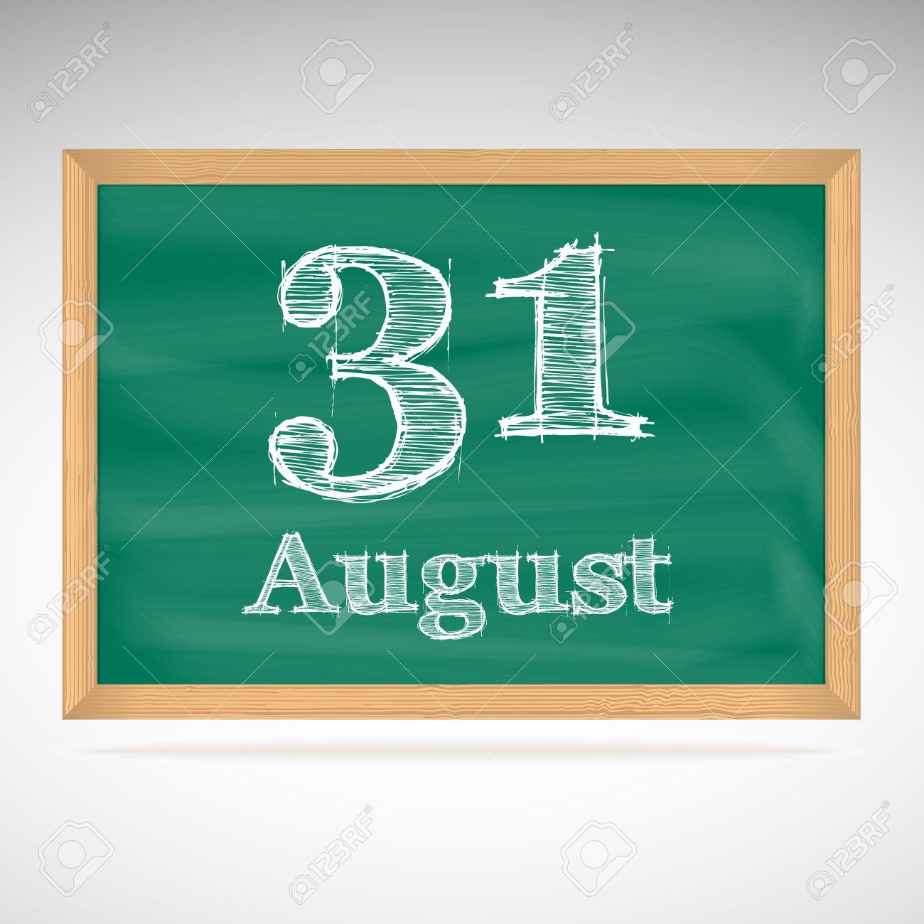 Day school board date. August 31st calendar clipart