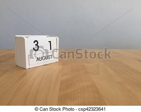 August 31st calendar clipart vector black and white stock Stock Photo of August 31st.August 30 white wooden calendar on wood ... vector black and white stock