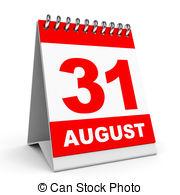 Illustrations and clip art. August 31st calendar clipart