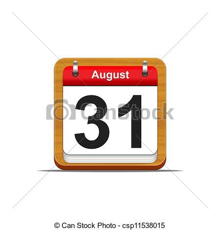 August 31st calendar clipart. Of illustration elegant wooden