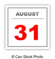 August 31st calendar clipart. Of on white background