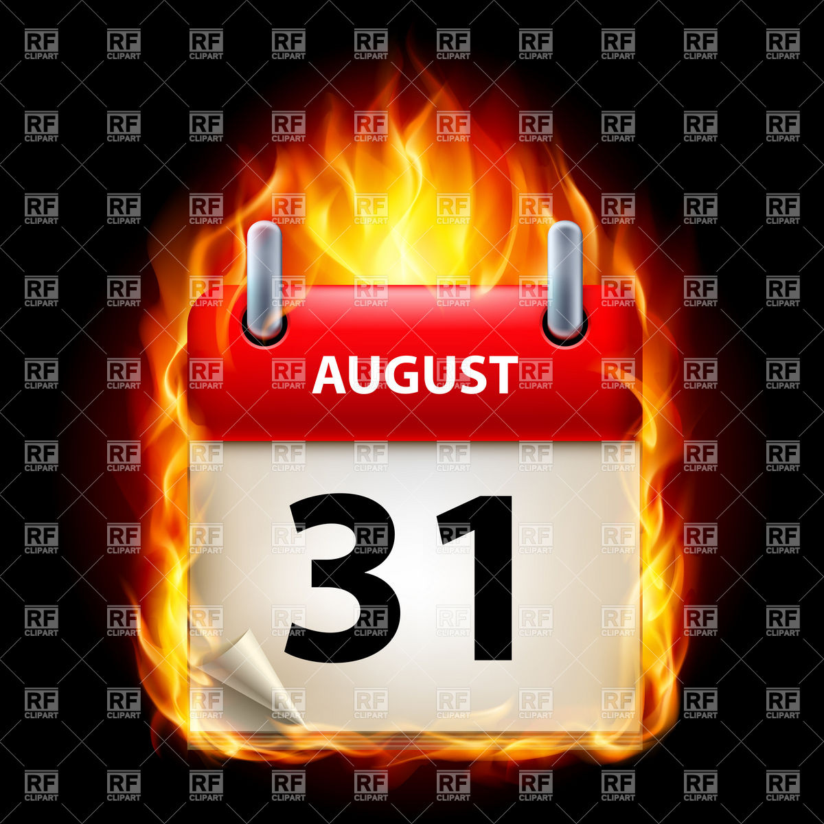 August 31st calendar clipart.  of icon in