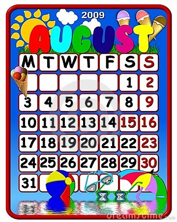 August calendar clipart. Clip art stock illustration