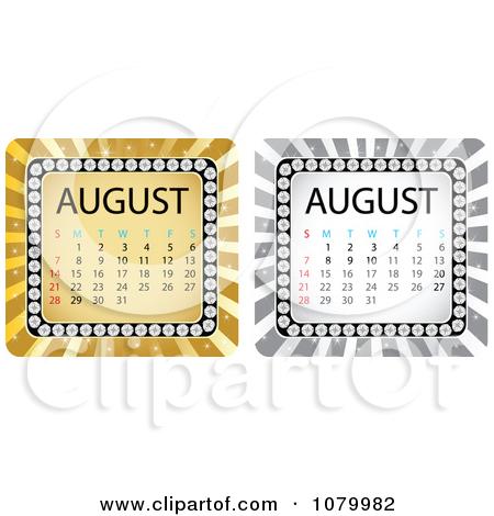 Royalty rf illustrations vector. August calendar clipart free