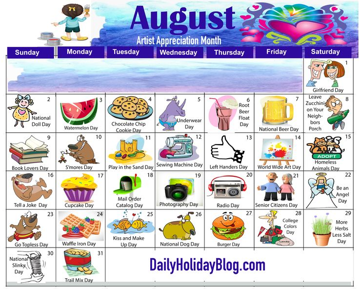 best about on. August calendar clipart ideas