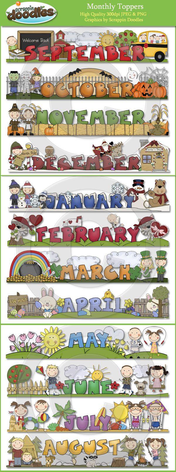 August calendar months clipart clip transparent stock 1000+ images about Preschool Calendar Printables on Pinterest ... clip transparent stock