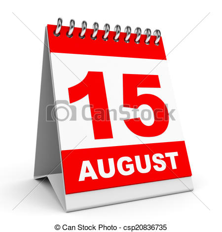August clipart calendar. On white background and
