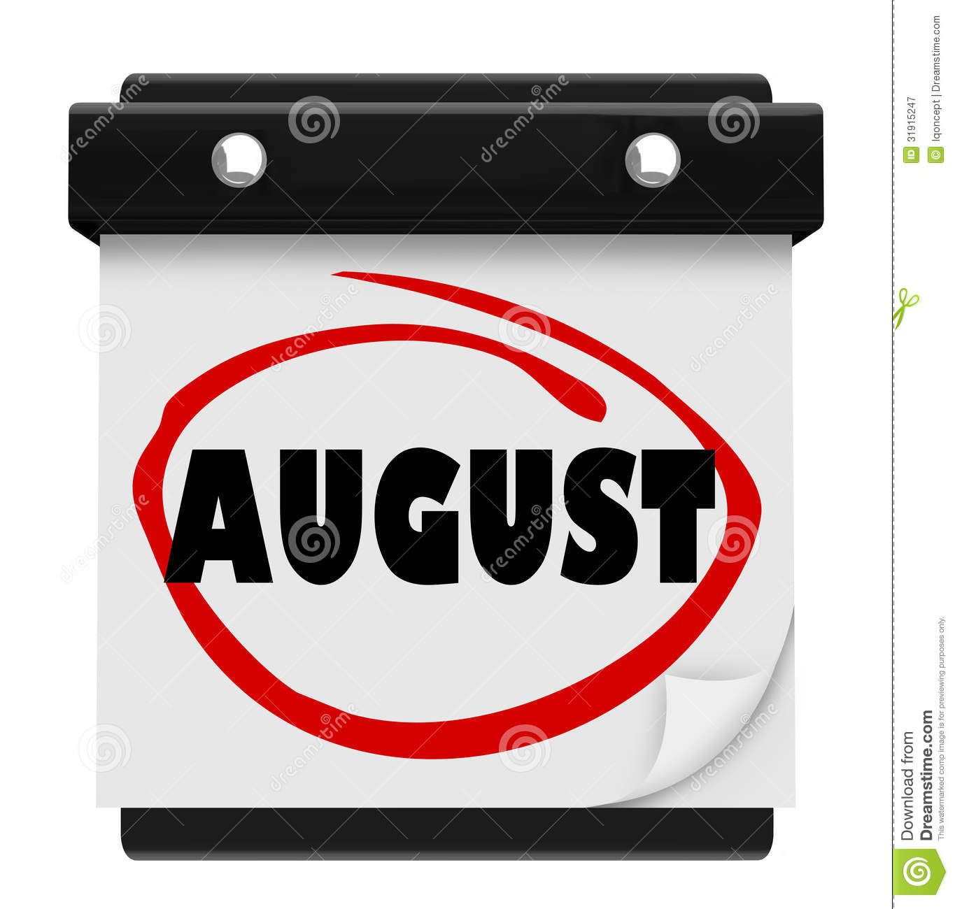 August month calendar clipart png freeuse August Word Wall Calendar Change Month Schedule Royalty Free Stock ... png freeuse
