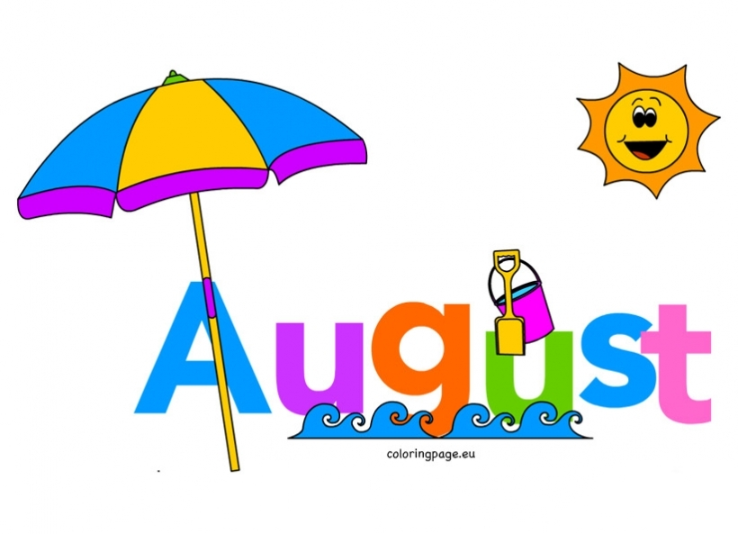 August month clip art. Of coloring page throughout