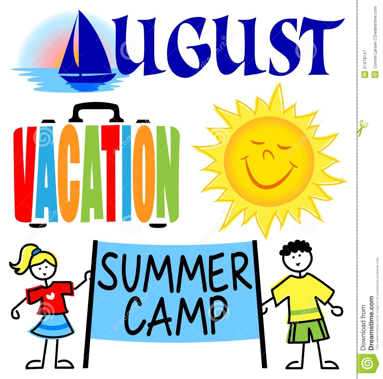 August month clip art. Stock illustration image events
