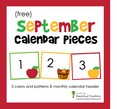 August preschool calendar clipart svg September Calendar Numbers - Free Printable svg
