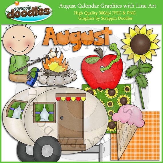 August preschool calendar clipart banner black and white library 17 Best ideas about August Calendar on Pinterest | Free printable ... banner black and white library