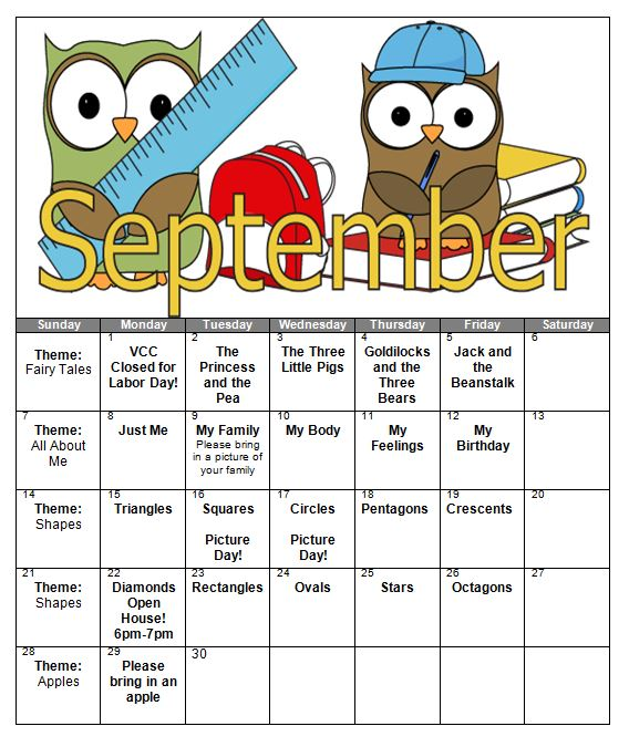 August preschool calendar clipart image freeuse library Preschool Calendar – Page 3 – Victor Child Care Center image freeuse library