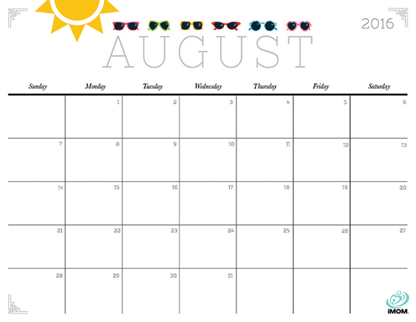August preschool calendar clipart clip art freeuse August Printable Calendar - Printable Calendar 2017 clip art freeuse