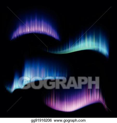 Aurora boreal clipart vector royalty free library Vector Art - Northern aurora lights strips, borealis vector set ... vector royalty free library