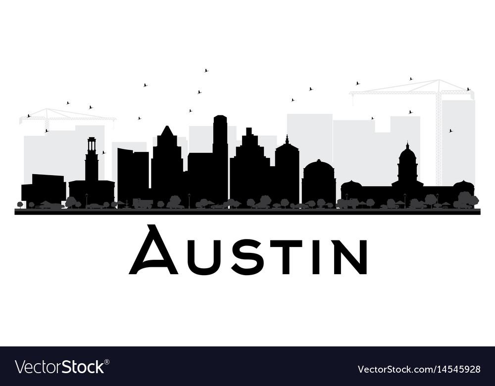Austin skyline clipart free clipart transparent Austin city skyline black and white silhouette vector image clipart transparent