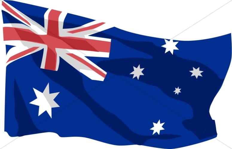 Australia flag clipart vector transparent stock Australian Flag in the Wind   Veteran\'s Day Clipart vector transparent stock