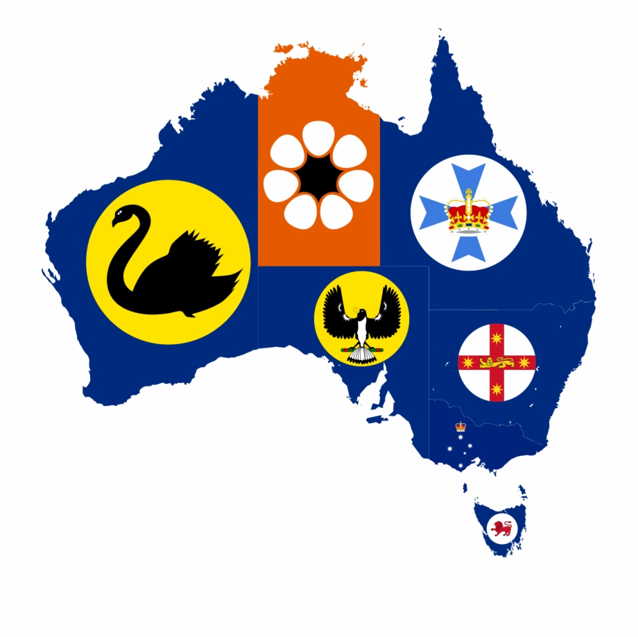 Australia map with states clipart svg library library Flag-map Of States And Territories Of Australia - Refugees In ... svg library library