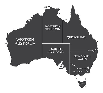 Australia map with states clipart graphic free download Australia Map With States and Labelled Black premium clipart ... graphic free download