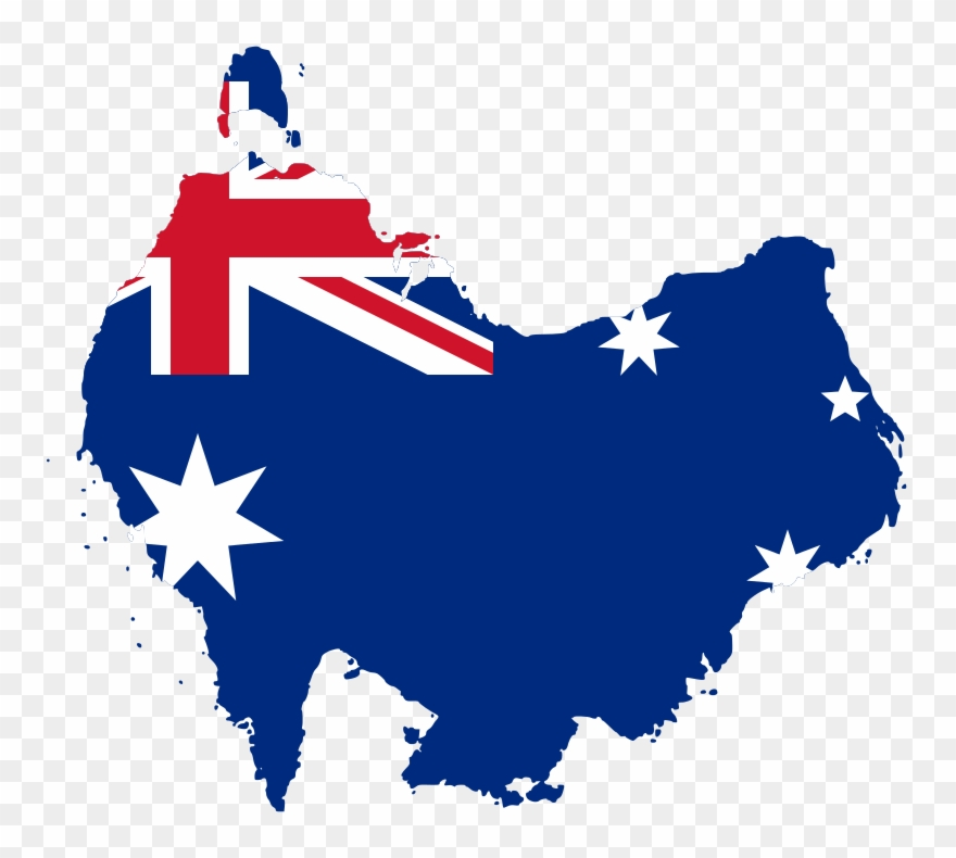 Australia vector clipart png library download Australia Flag-map South At Top - Australia Flag Map Vector Clipart ... png library download