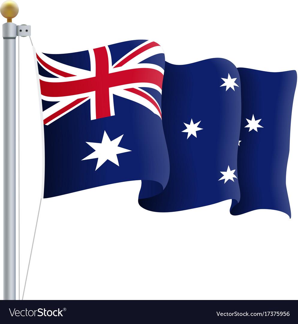 Australian flag waving clipart clip art black and white stock Waving australia flag isolated on a white clip art black and white stock