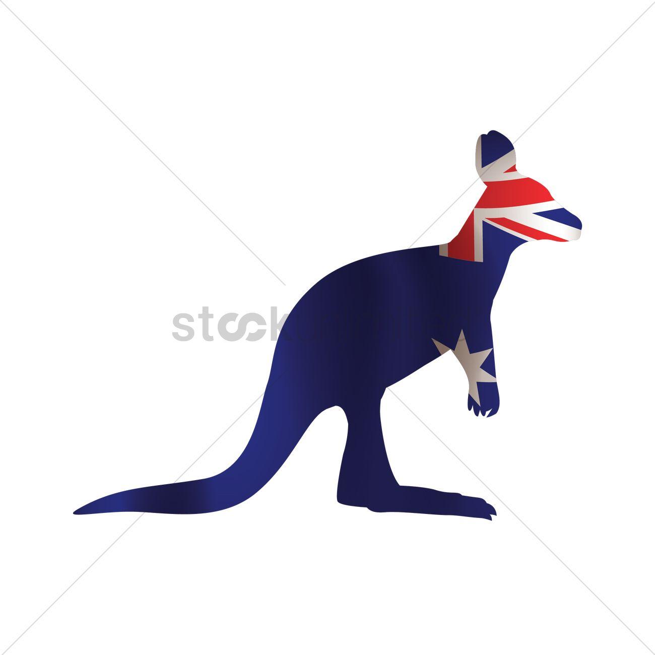 Australian kangaroo clipart vector royalty free stock Australia flag on kangaroo shaped icon Vector Image - 1962187 ... vector royalty free stock
