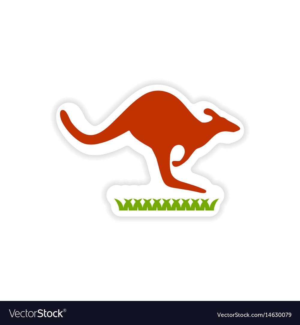 Australian kangaroo clipart clipart royalty free stock Paper sticker australian kangaroo on white clipart royalty free stock