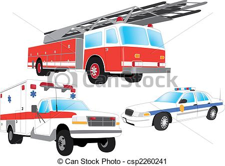 Australian police car clipart picture library stock Vector Clip Art of Emergency vehicles - firefighter, ambulance and ... picture library stock