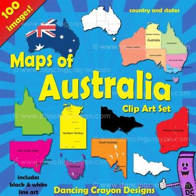 Australia maps clip art. Australian states clipart
