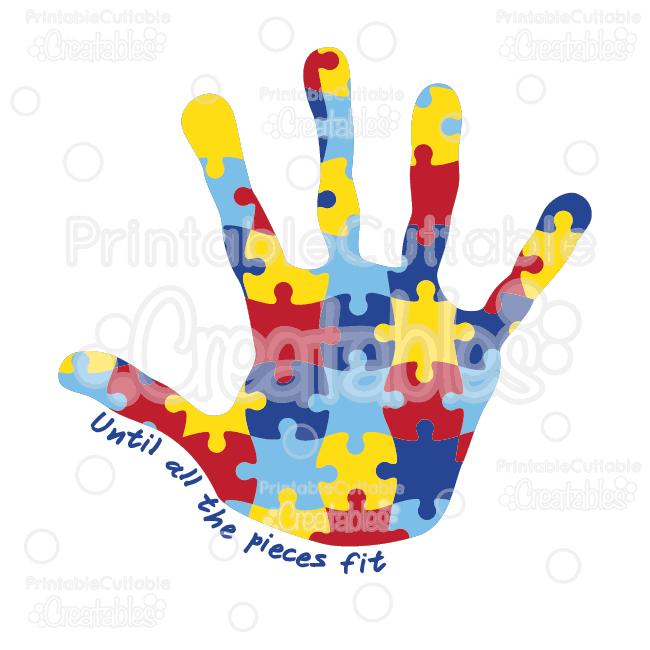 Autism awareness clipart picture freeuse stock Autism Awareness Puzzle Handprint SVG Cut Files & Clipart picture freeuse stock