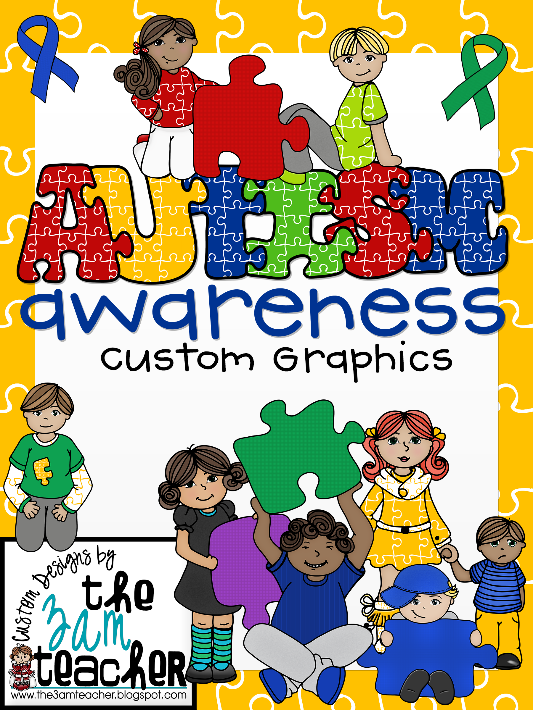 Autism awareness clipart vector freeuse library Autism Awareness Clip Art/Graphics: Set 2 vector freeuse library