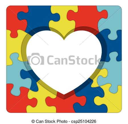 Autism clip art graphics picture black and white stock Vector Illustration of Autism Awareness Puzzle Heart Illustration ... picture black and white stock