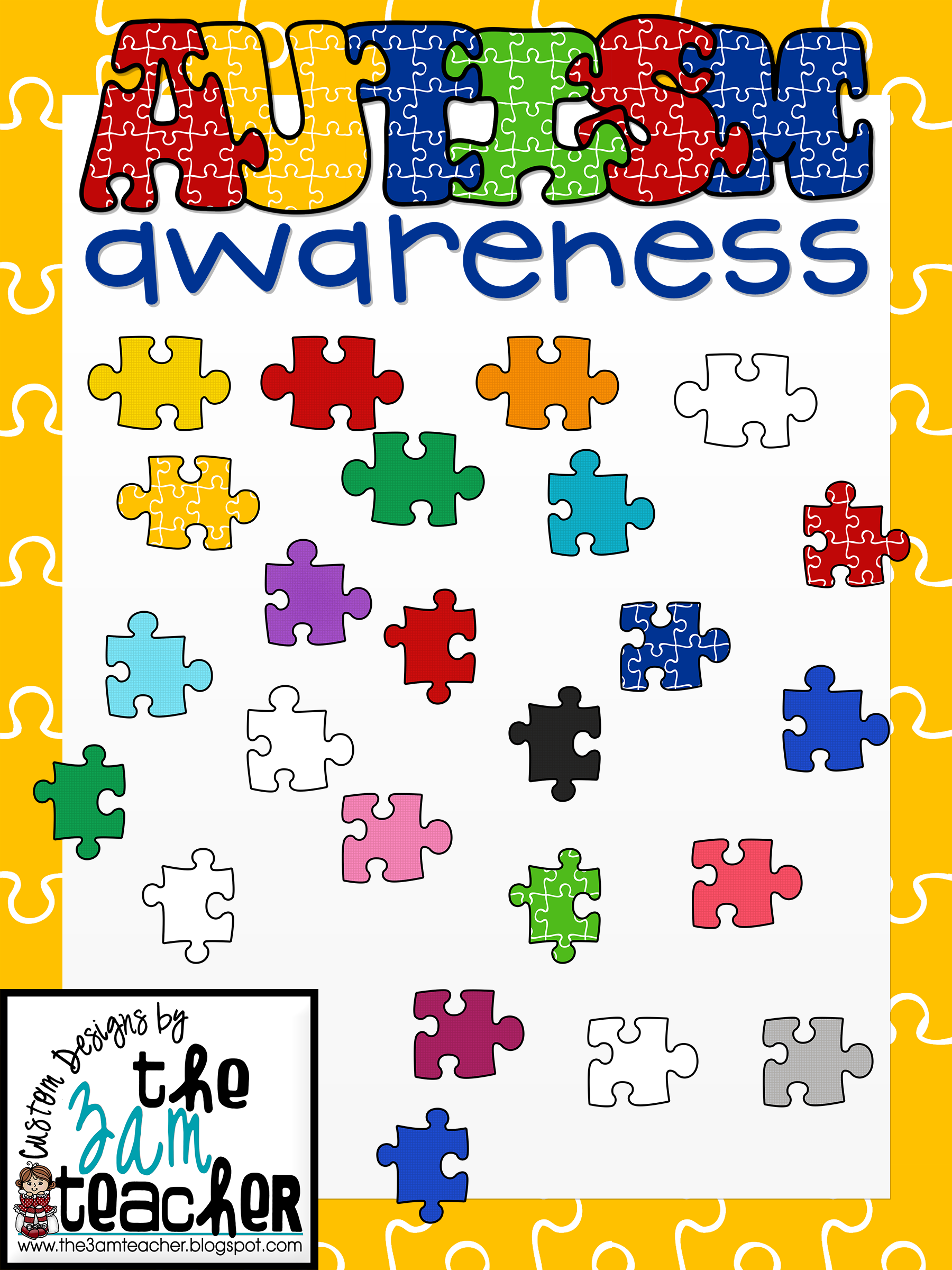 Autism clip art graphics banner library stock Autism Awareness Clip Art/Graphics: Fun Puzzle Pieces banner library stock