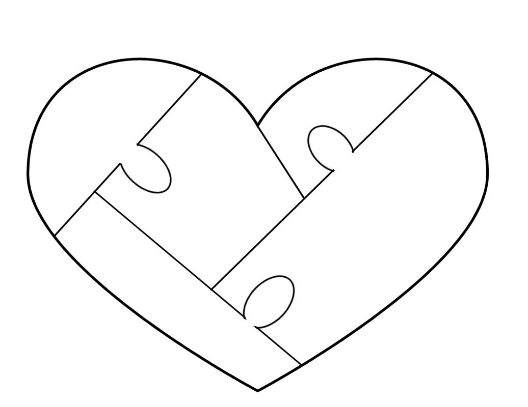Autism puzzle heart clipart black and white graphic black and white download Heart Puzzle Template - free to use | Woodworking - Puzzles ... graphic black and white download