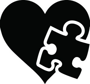 Autism puzzle heart clipart black and white png free stock Details about Autism Puzzle Piece Heart Decal Window Love Bumper Sticker  Car Awareness Support png free stock