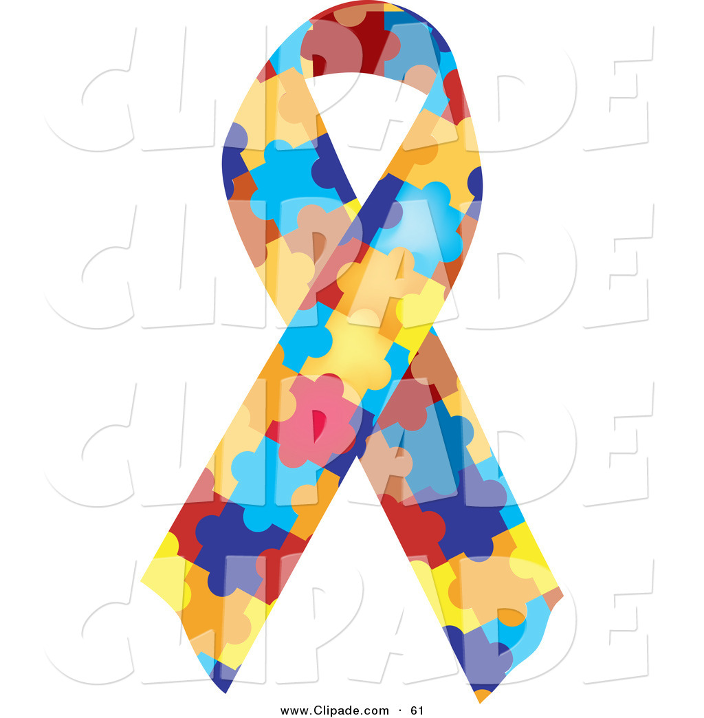Autism ribbon clip art svg black and white download Clip Art of a Colorful Jigsaw Puzzle Piece Autism Awareness Ribbon ... svg black and white download
