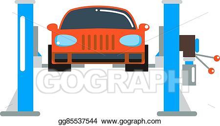 Auto on lift clipart graphic freeuse download Vector Art - Car repair service diagnostics cartoon flat vector ... graphic freeuse download
