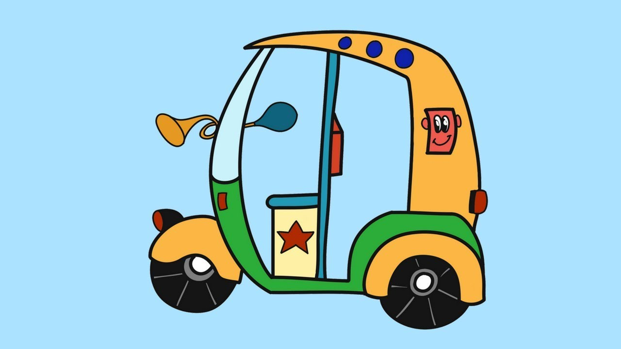 Auto rickshaw cartoon clipart graphic transparent stock How to draw an auto rickshaw | Learn to draw an Autorickshaw for kids |  Coloring pages Auto for kids graphic transparent stock
