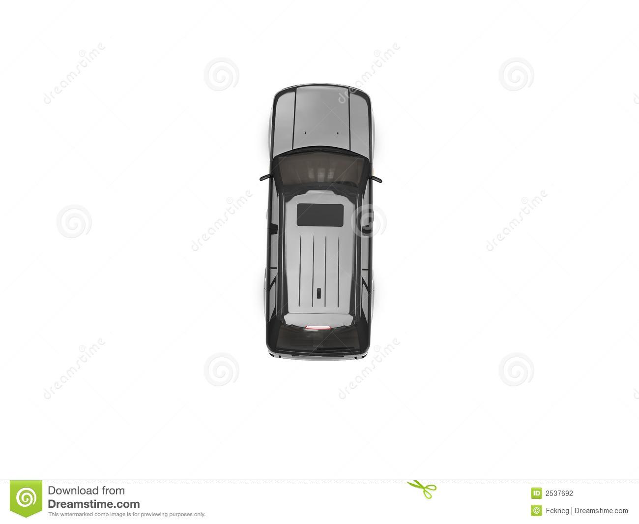 Isolated black car top. Auto von oben clipart