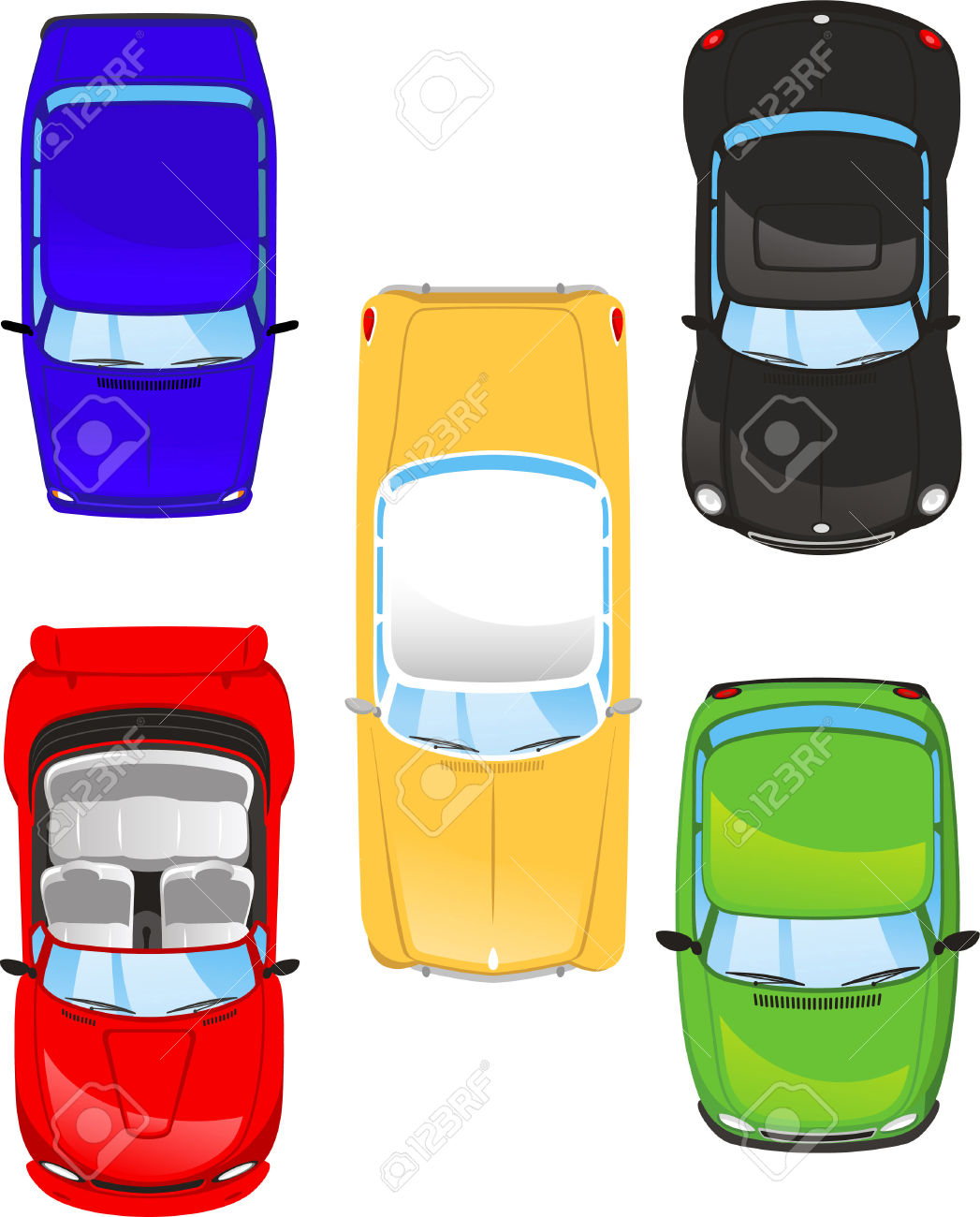 Auto von oben clipart picture library stock Car Top View Set Illustrations Royalty Free Cliparts, Vectors, And ... picture library stock
