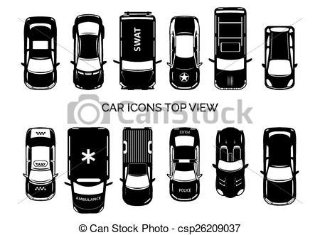 Vectors of car icons. Auto von oben clipart