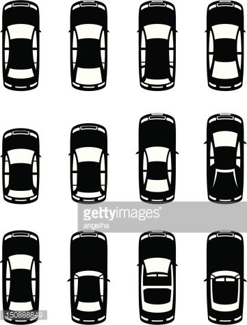 Auto von oben clipart. Verschiedene autos gesehen stock
