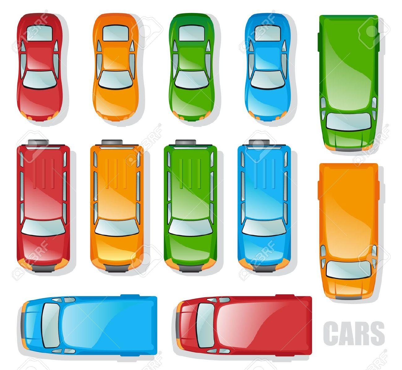Auto von oben clipart. Cars and minibuses the