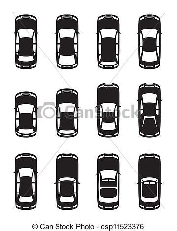 Vektoren illustration autos verschieden. Auto von oben clipart