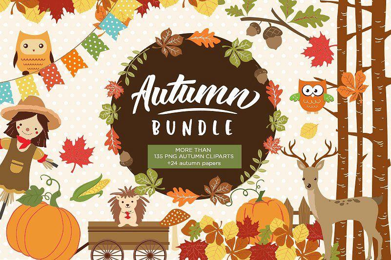 Autum clipart clipart Autumn Clipart Bundle - 138 cliparts Eps and PNG clipart