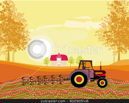 Autumn field clipart svg library Tractor plowing field in autumn stock vector svg library
