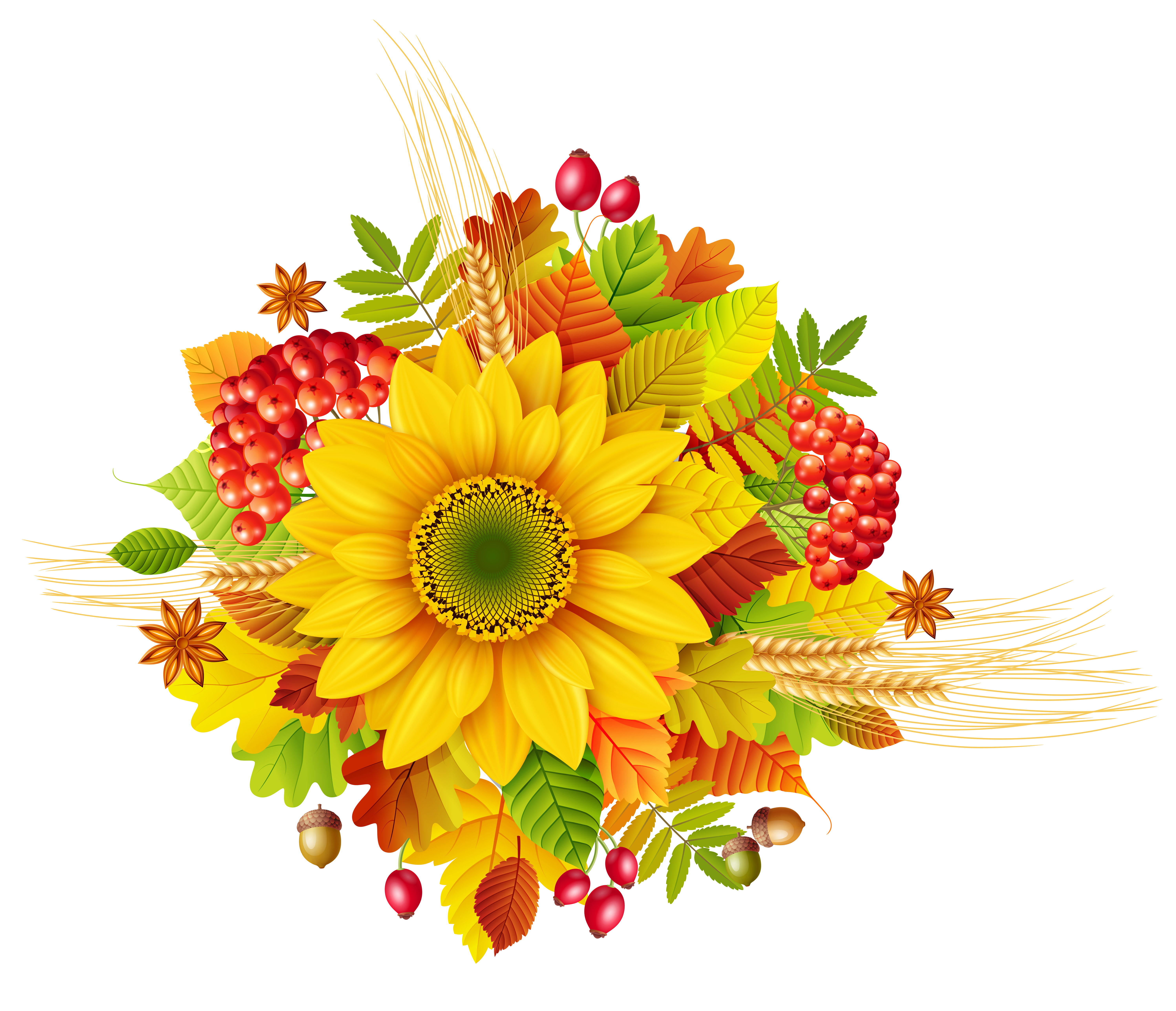 Free fall flower clipart vector free Autumn Decor PNG Clipart Picture | Gallery Yopriceville - High ... vector free